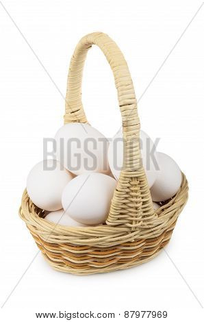 Woven Wooden Basket With Eggs