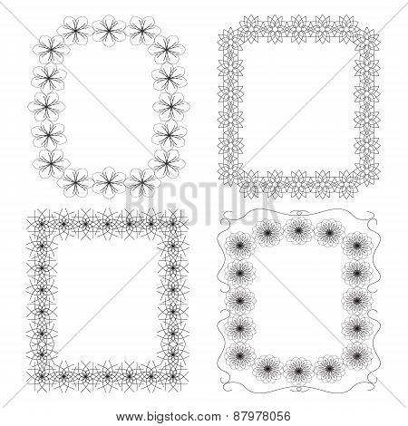 4 Frame With Geometric Floral Elements
