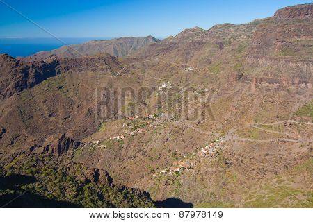Masca Village With Scenic Curvy Road, Tenerife, Spain