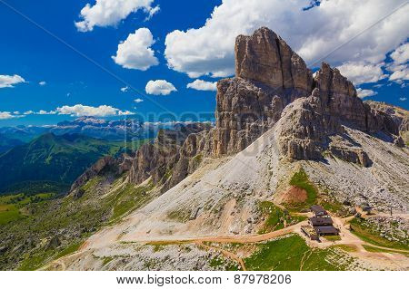 Monte Averau With Rifugio Averau And Sella In The Background, Dolomites