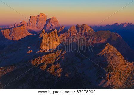 Dolomiti Sunset From Lagazuoi