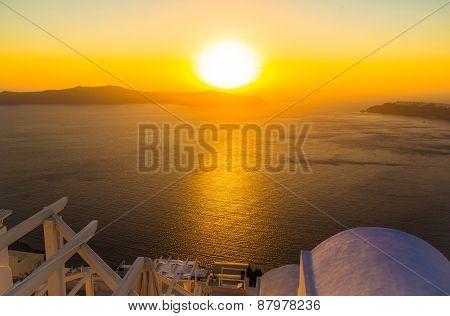 Sunset Overlooking Caldera, Imerovigli, Santorini Island, Greece