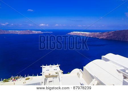 Imerovigli Caldera View Towards Oia, Santorini, Greece