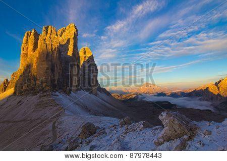 Tre Cime Sunrise In Autumn, Dolomites, Italy