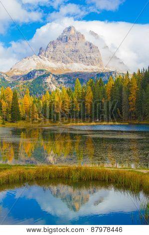 Tre Cime From Lago Antorno In Autumn, Dolomites, Italy