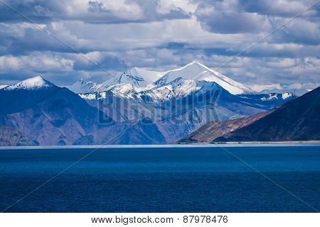 Snow Capped Mountains In Tibet, Panging Tso, Himalayas, India