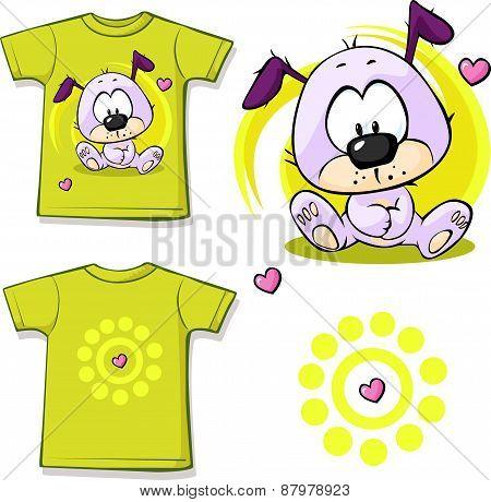 Cute Puppy Printed On Shirt