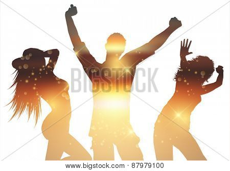 Silhouettes of people dancing with a summer background