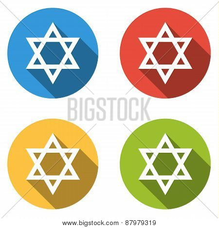 Collection Of 4 Isolated Flat Colorful Buttons (icons) For Star Of David