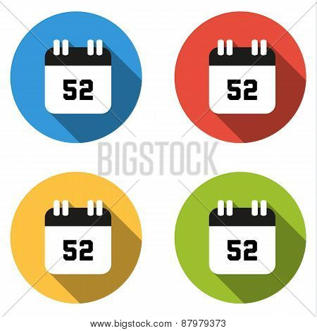 Collection Of 4 Isolated Flat Buttons (icons) For Number 52