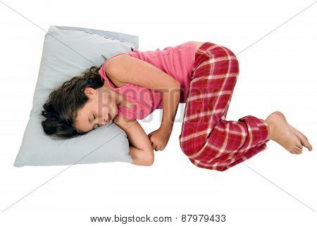 Little Girl Sleeping In Fetal Position