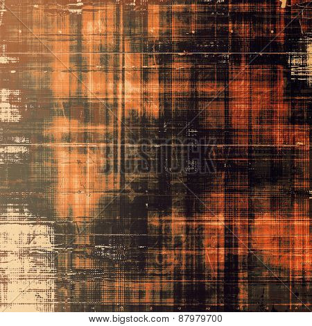 Grunge texture with decorative elements and different color patterns: yellow (beige); red (orange); brown; black