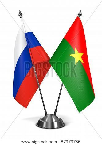 Russia and Burkina Faso - Miniature Flags.