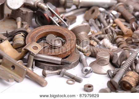 Different Screws And Other Parts, Close Up