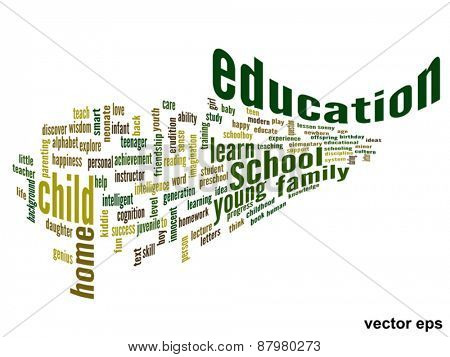 Vector eps concept or conceptual 3D education abstract word cloud on white background