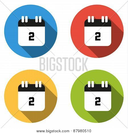 Collection Of 4 Isolated Flat Buttons (icons) For Number 2