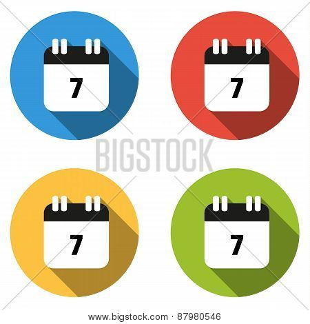 Collection Of 4 Isolated Flat Buttons (icons) For Number 7