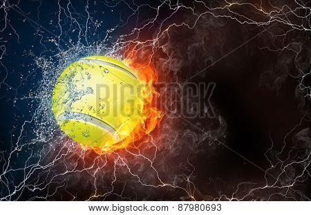 Tennis ball on fire and water with lightening around on black background. Horizontal layout with text space.
