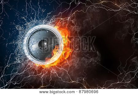 Speaker on fire and water with lightening around on black background. Horizontal layout with text space.