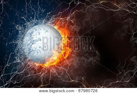 Golf ball on fire and water with lightening around on black background. Horizontal layout with text space.