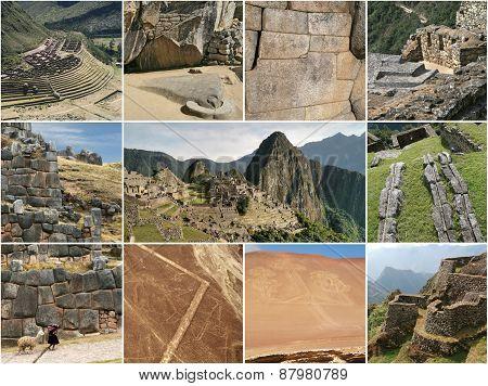 Peru landmark collage