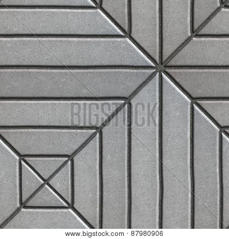 Gray Paving Slabs Rectangles of Varying Lengths Laid in a Square.