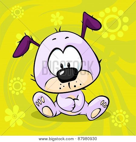 Cute Pupy Sitting On Funny Abstract Background