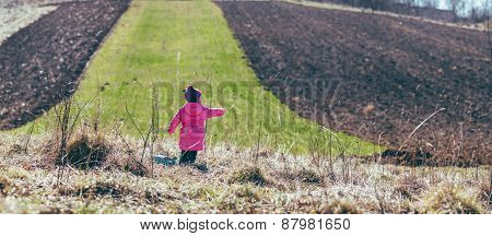 Girl Standing In The Field. Panorama.