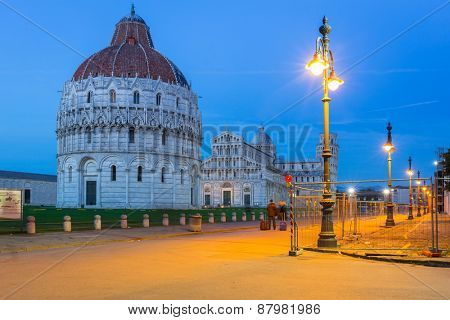 Pisa, Italy. Catherdral and the Leaning Tower of Pisa at Piazza dei Miracoli.