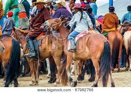 Horseback Spectators, Nadaam Horse Race, Mongolia