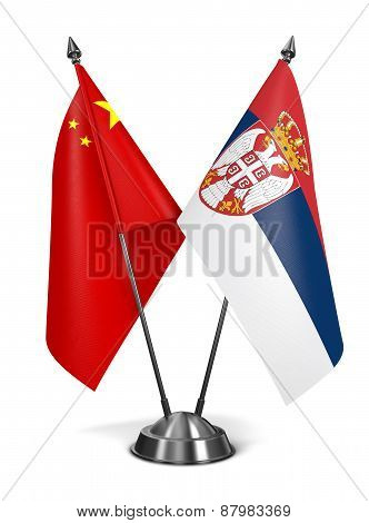 China and Serbia - Miniature Flags.