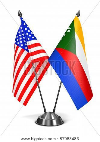 USA and Comoros - Miniature Flags.