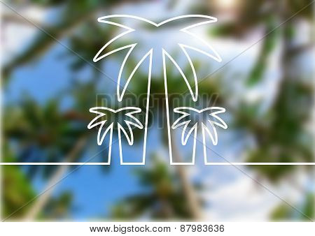 Palm Tree Line Silhouette On Summer Beach Blurred Background. Vector Nature Abstract Background With