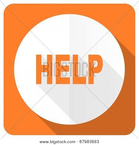 help orange flat icon
