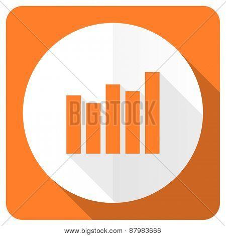 graph orange flat icon bar graph sign