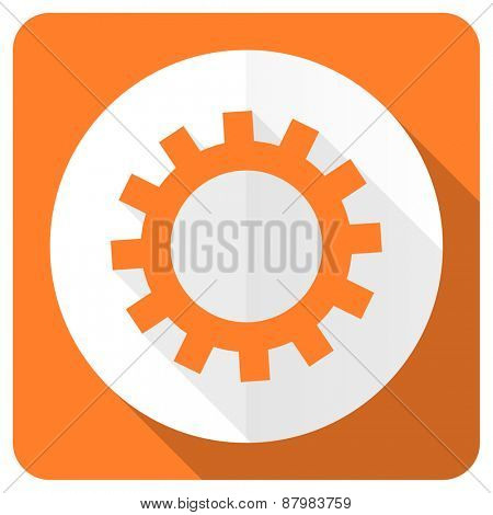 gears orange flat icon options sign