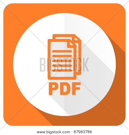 pdf orange flat icon pdf file sign