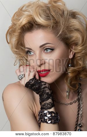 Retro Styled Portrait Of Sexy Adult Woman