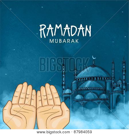 Illustration of hands praying namaz (Muslim's Prayer) infront of mosque in blue night for Islamic holy month of prayers, Ramadan Mubarak celebration.