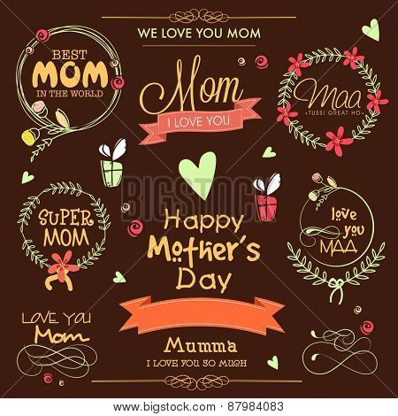 Stylish typographic collection, ribbons and frames on brown background for Happy Mother's Day celebration.