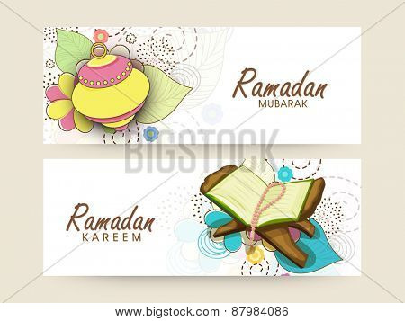 Website header and banner set with colourful arabic lantern and Islamic religious book Quran Shareef for holy month of prayers, Ramadan Kareem celebrations.