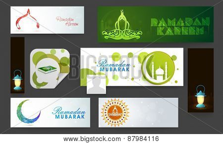 Social media and marketing headers, ads or banners for Islamic holy month of prayers, Ramadan Kareem celebrations.