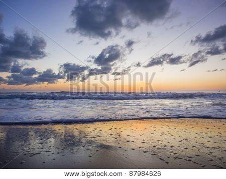 Sea sunrise in Chaweng beach Koh Samui island, Thailand.