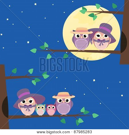Happy Owls Family Sitting On A Tree Branch - Illustration