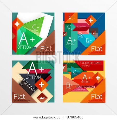 Modern paper info banner layout set. Glossy paper graphics with text, business presentation