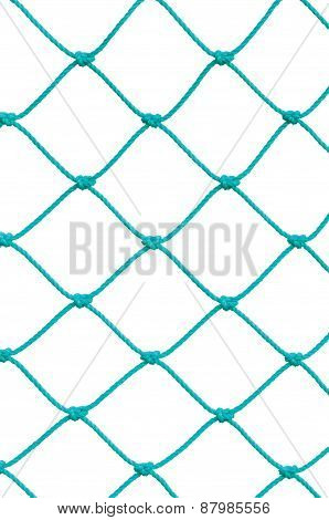 Soccer Football Goal Post Set Net Rope Detail New Green Goalnet Netting Ropes Knots Pattern Vertical