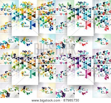 Set of vector triangular abstract backgrounds. Modern corporate layouts