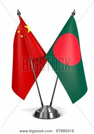 China and Bangladesh - Miniature Flags.
