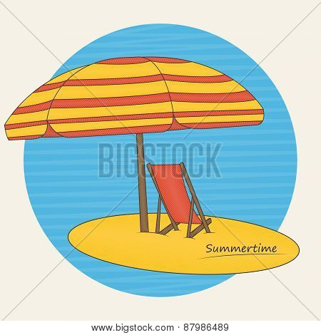 Beach Umbrella And Deckchair On The Beach