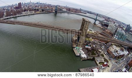 Aerial View Of Brooklyn and Manhattan Bridge